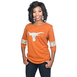 Texas Longhorns Glitter Gear Womens 3/4 Sleeve Tee