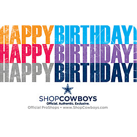 Dallas Cowboys Birthday Gift Card $5-$100