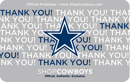 dallas cowboys thanks gift card 5 100 gift cards other