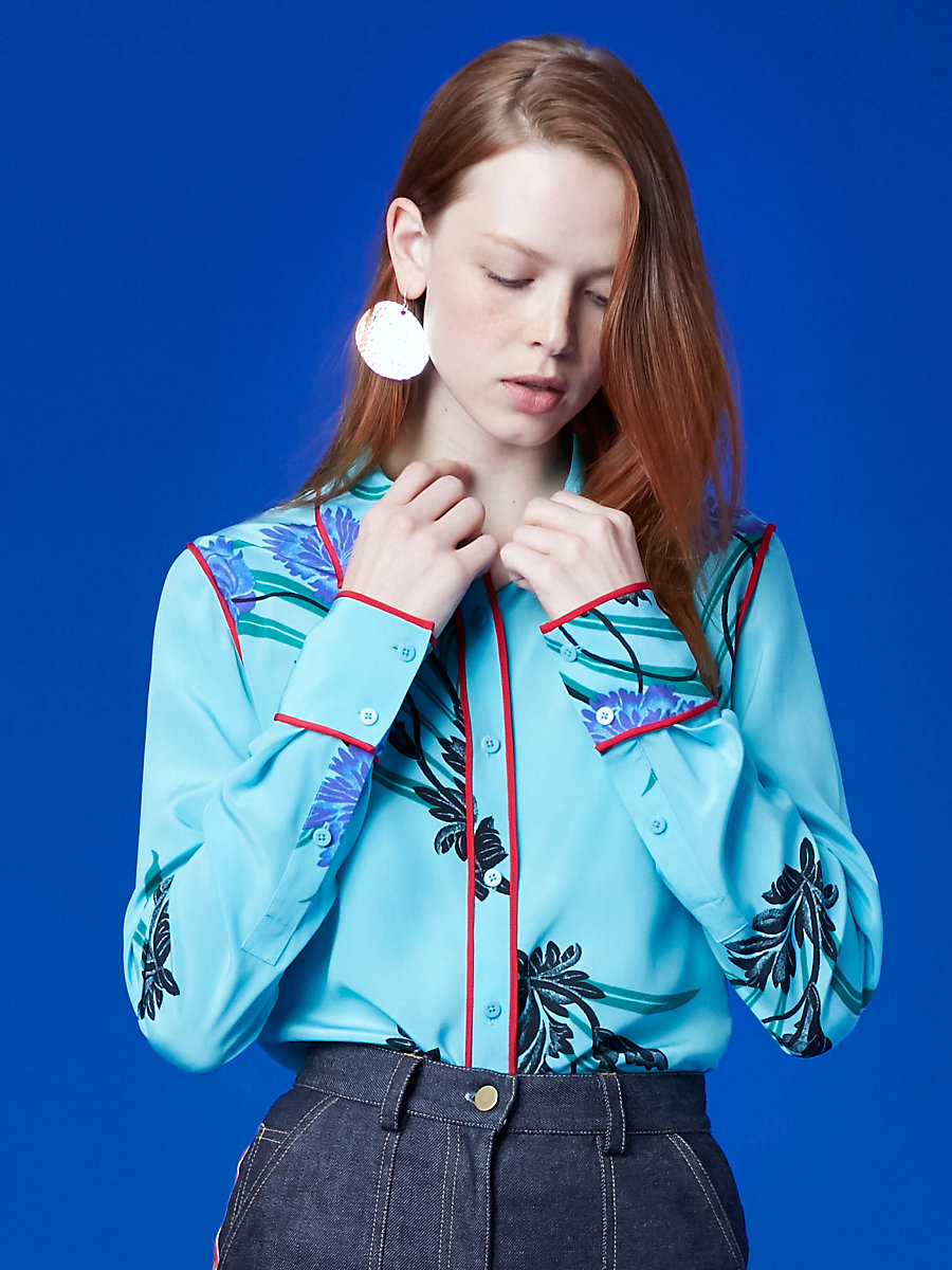 510a31a001b5f ... Long-Sleeve Collared Shirt in Farren Marine  Lipstick by DVF