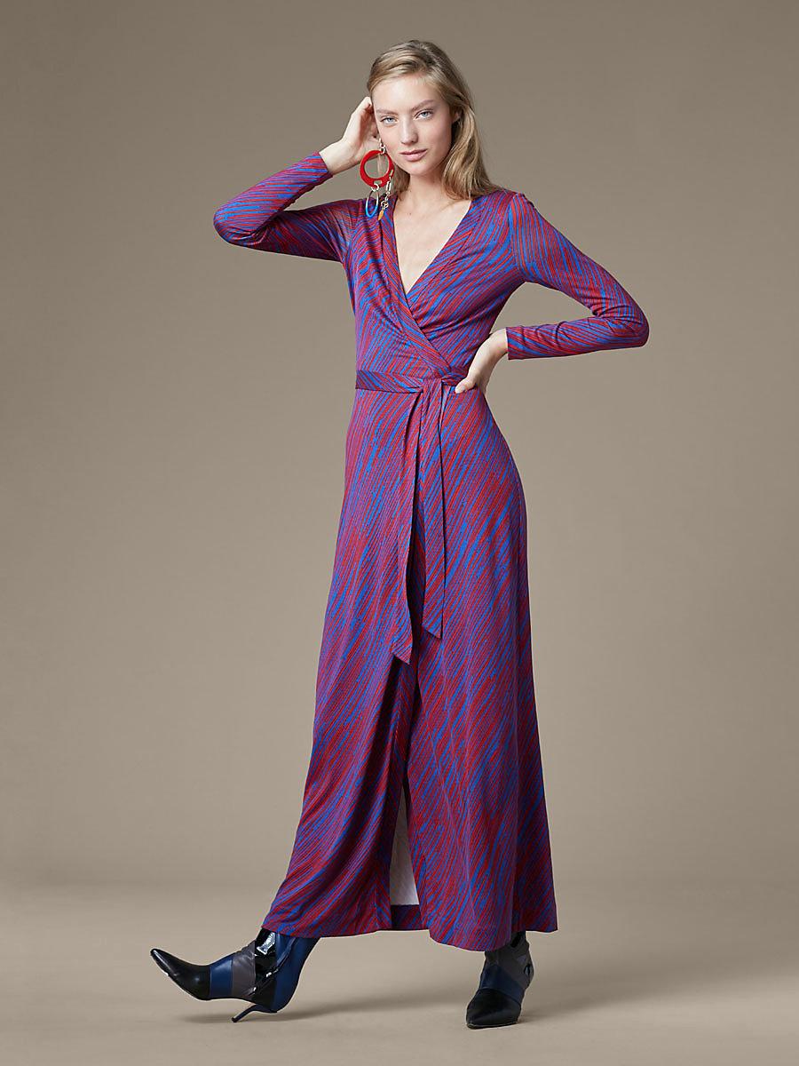 New Julian Long Banded Wrap Dress In Visconti Royal By Dvf