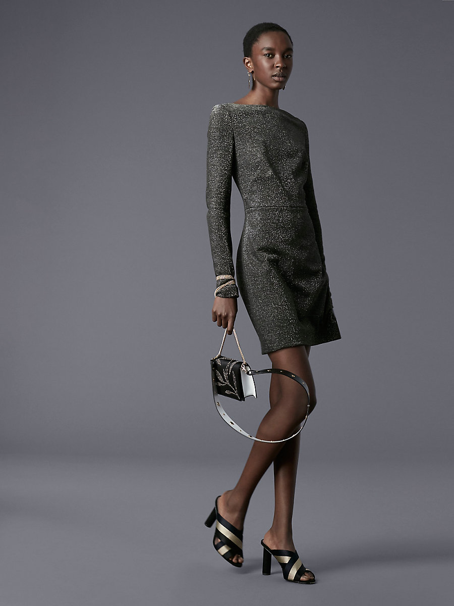 Long Sleeve Ed Mini Dress In Black By Dvf