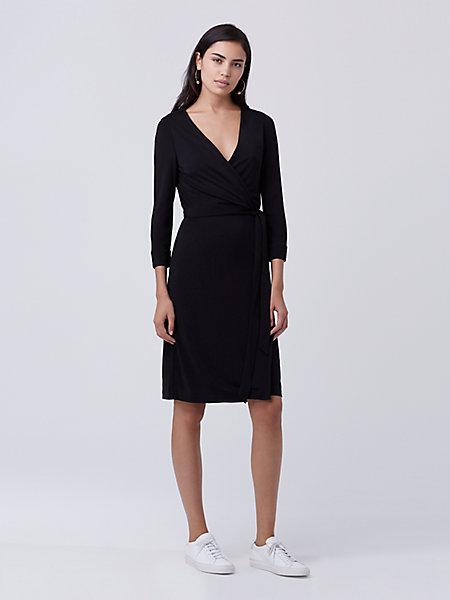 f0249555b4b New Julian Two Matte Jersey Wrap Dress in Black by DVF. Quick Buy