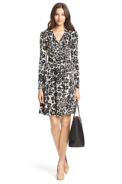 T72 Silk Jersey Wrap Dress In In Cheetah Floral Large