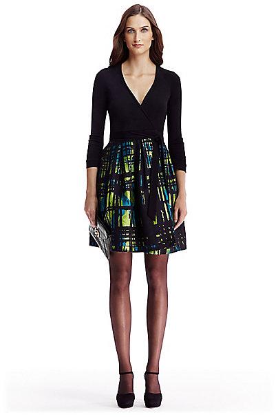 Dvf Jewel Jacquard Wrap Dress In In Black Blue Lagoon Multi
