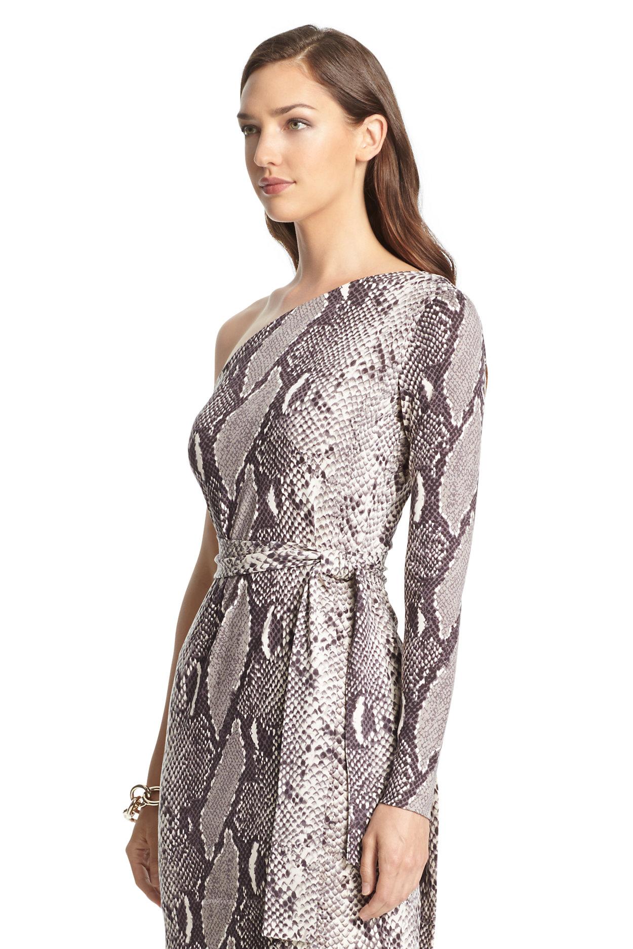 Coco Silk Jersey One Shoulder Mini Wrap Dress