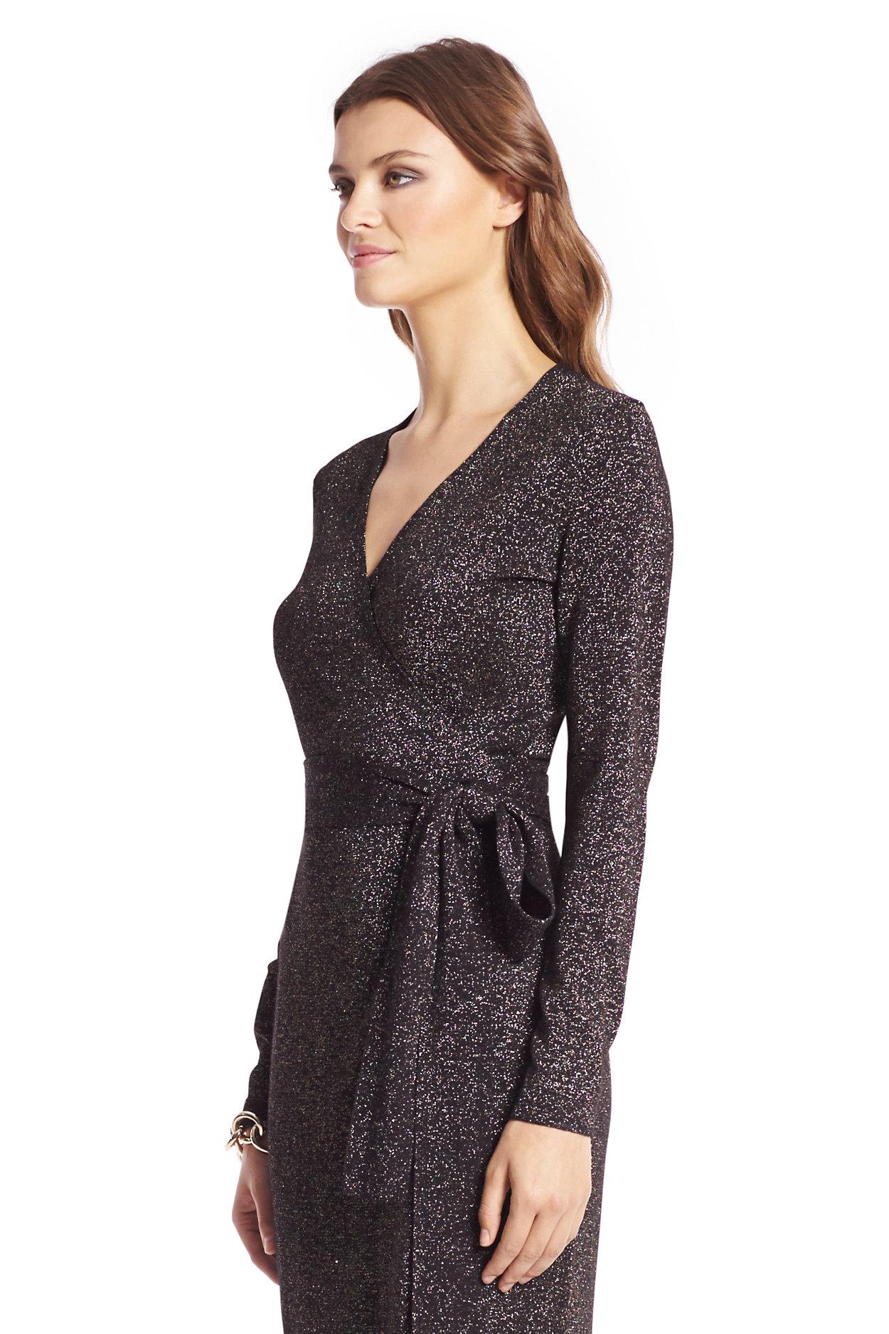 Metallic Knit Wrap Dress