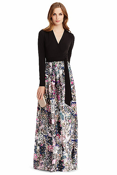 Dvf Kailey Silk Combo Wrap Gown In In Black Fleur Jungle Pink