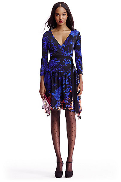 Dvf Riviera Jersey And Chiffon Combo Wrap Dress In In