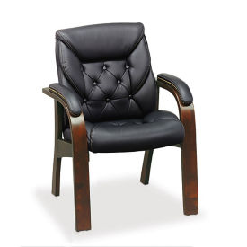 Traditional Tufted Faux Leather Guest Chair, C80353
