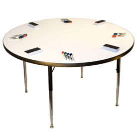 "Height Adjustable Whiteboard Table - 36""DIA, A11213"