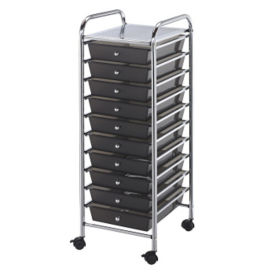 Smoke Gray Mobile Storage Cart 10 Drawer, B30491