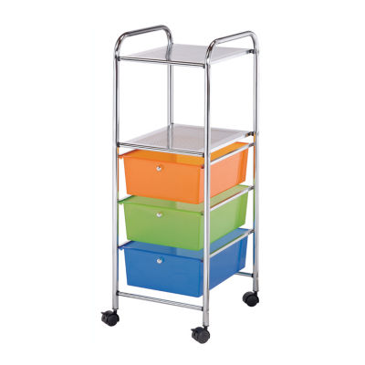 Multicolor Mobile Storage Cart 3 Drawer, 2 Shelf, B34270