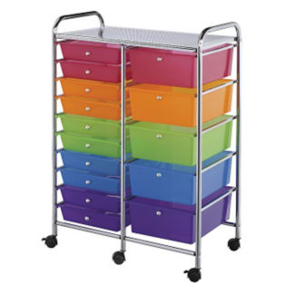 15 Drawer Multi Colored Plastic Storage Cart, V21877
