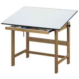 "Titan Solid Oak Drafting Table 48"" x 36"", A11121"