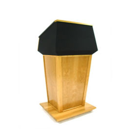 Wood and Fabric Non Sound Lectern in Oak Finish, M13189