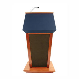 Wood and Fabric Wireless Mic Lectern, M13194