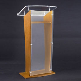 Wood Veneer and Acrylic Lectern, M13204