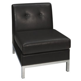 Faux Leather Armless Guest Chair, W60438