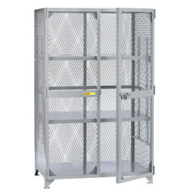 "Metal Mesh Two Adjustable Shelves Storage Locker - 48""W x 24""D x 72""H, B30298"