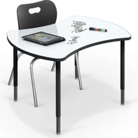 """Small Curved Marker Board Top Desk - 32.7""""D x 41.7""""W, A11242"""