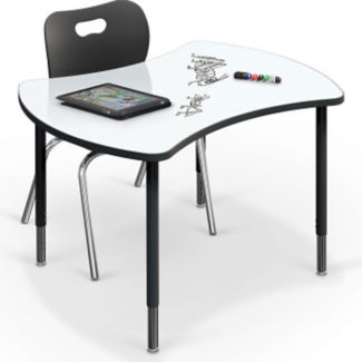 "Small Curved Marker Board Top Desk - 32.7""D x 41.7""W, A11242"