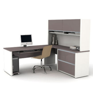 L Desk with Hutch, D35033