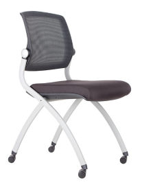 Nex Armless Mesh Back Fabric Nesting Chair with Dual-Purpose Casters, C52032