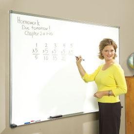 Porcelain White Board with Aluminum Frame 4'wx4'h, B20831