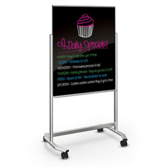 Black Magnetic Glass Markerboard Easel - 3 ft x 4 ft, B23331