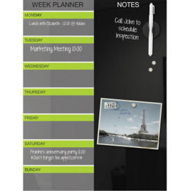 Black Magnetic Glass Dry Erase Weekly Planner, B23471