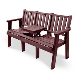 """Outdoor Bench with Drop Center Table - 60""""W, F10419"""