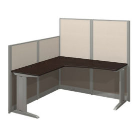 Three Person Workstation with Panels and Storage, D37795
