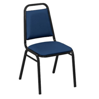 "Square-Back Stack Chair with 1 1/2"" Fabric Seat, C67786"