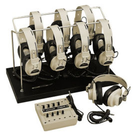Mono Listening Center for 8 with Storage Rack and Permanent Headphone Cords, M10243