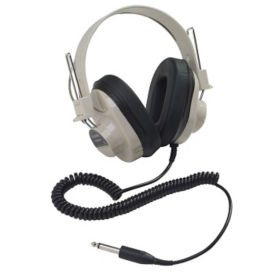 Mono Headphones with Permanent Coiled Cord, M16286