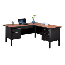 "Double Pedestal Steel L-Desk with Center Drawer - 66""W, D30371"