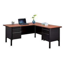 "Steel Double Pedestal L-Desk with Laminate Top - 66""W x 72""D, D30373"