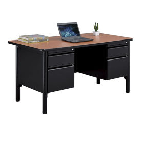 "Double Pedestal Steel Desk with Laminate Top - 60""W, D30362"