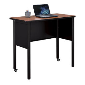 "Mobile Steel Standing Height Desk with Laminate Top - 48""W x 24""D, D30389"