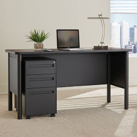 Steel Compact Desk with Laminate Top and Mobile Pedestal, D30392