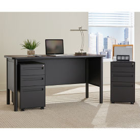 Steel Compact Desk with Laminate Top and Two Mobile Pedestals, D30391