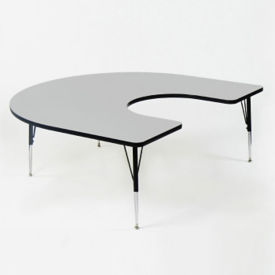 "Melamine Adjustable Height Horseshoe Activity Table 60"" x 66"", A10006"