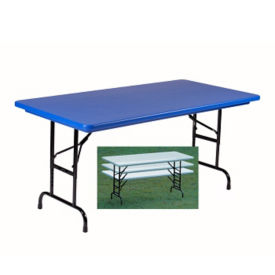 "Plastic Adjustable Height Folding Table - 60"" x 30"", A10239"