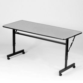 "Melamine Flip Top Table with Adjustable Height Legs 24"" x 48"", A11132"