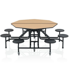 "29""H Fold and Roll Octagonal Cafeteria Table with Stools - 5 ft, T11680"