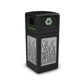 Decal Recycling Receptacle with Reed Design - 42 Gallon, R20323