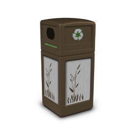 Decal Recycling Receptacle with Cattail Design - 42 Gallon, R20326