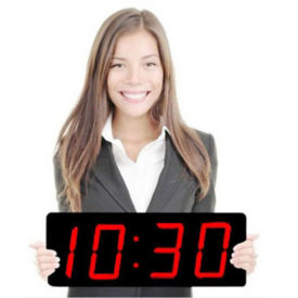 "Digital LED Clock with 5"" Red Numerals, V21724"