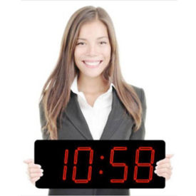 """Laser LED Clock with 5"""" Red Numerals, V21729"""